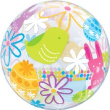 "Spring Bunnies Bubble Balloon (22"") 1pc"